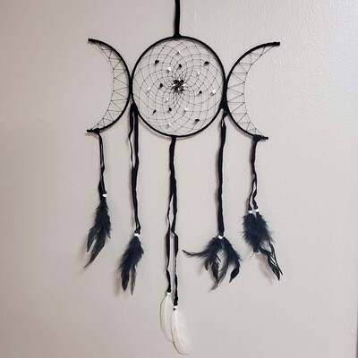 BLACK TRIPLE MOON DREAMCATCHER