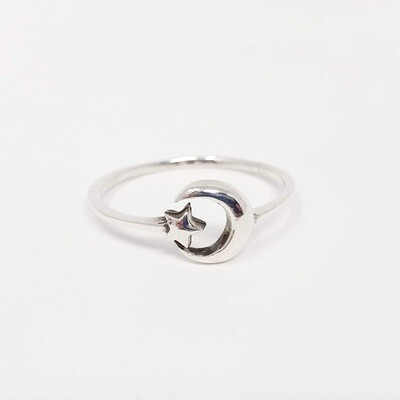 925 CRESCENT STAR SIMPLE RING
