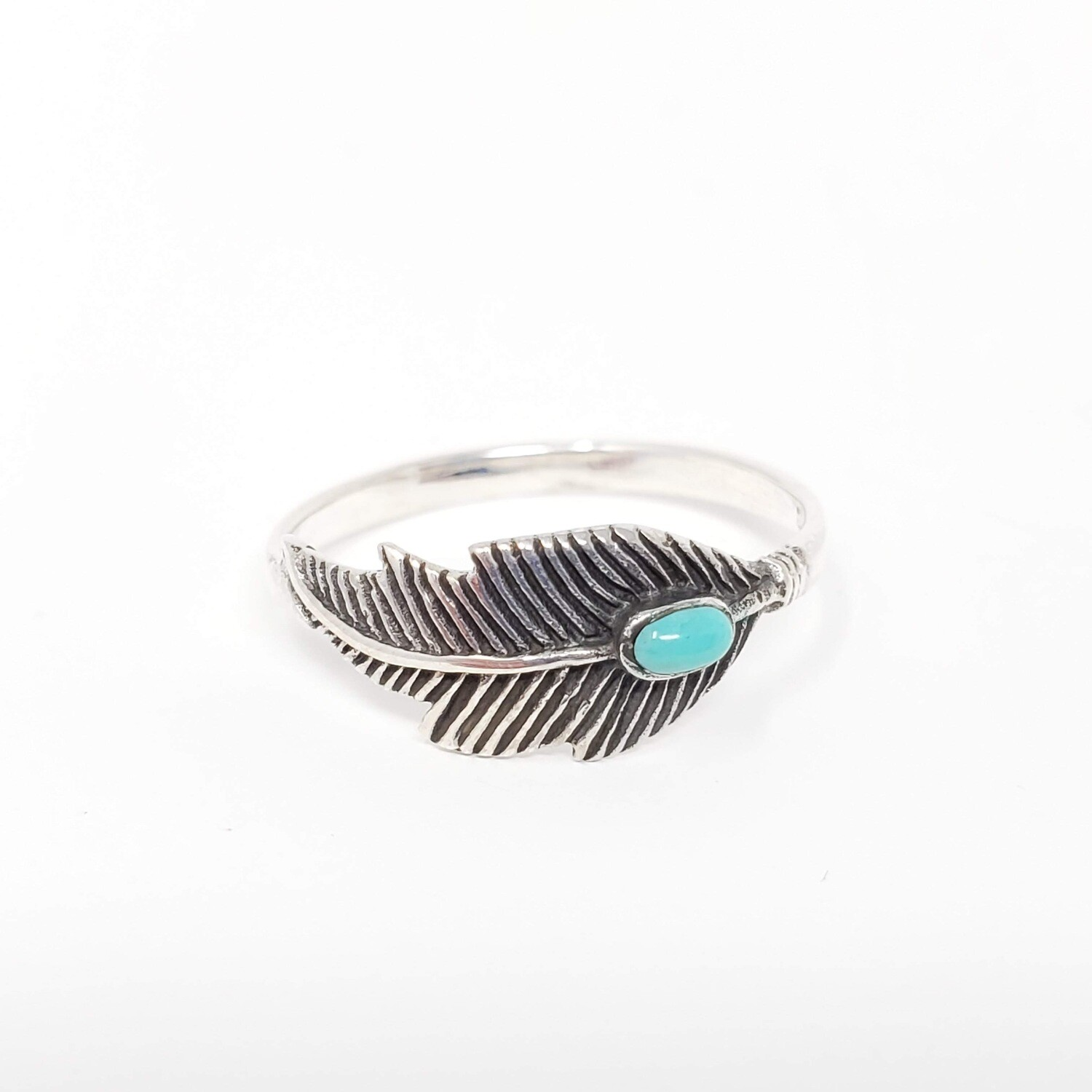 925 SYN TURQ FEATHER RING