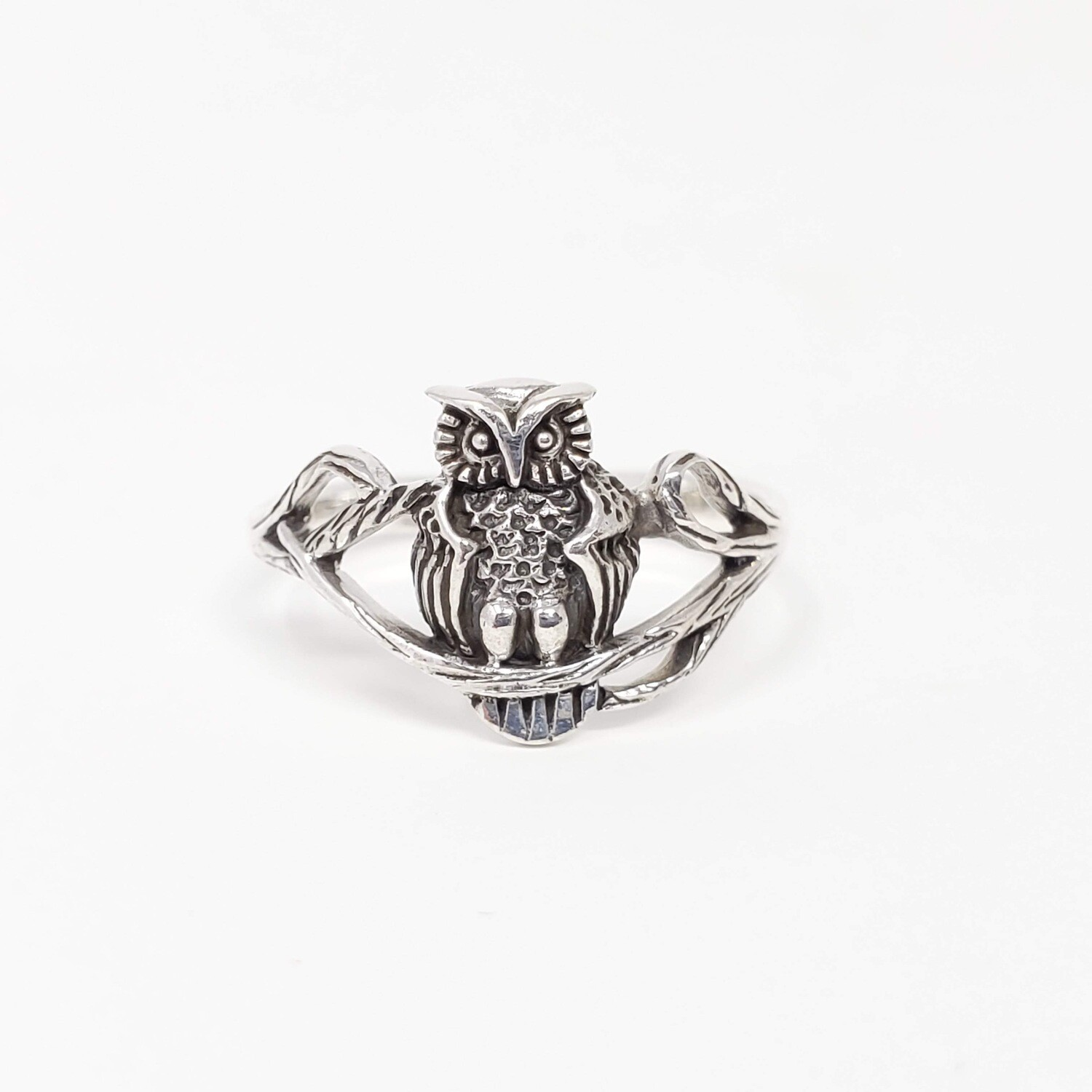 925 OWL ON BRANCH RING