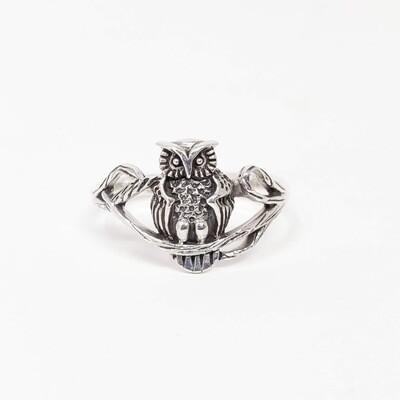 925 OWL ON BRANCH RING