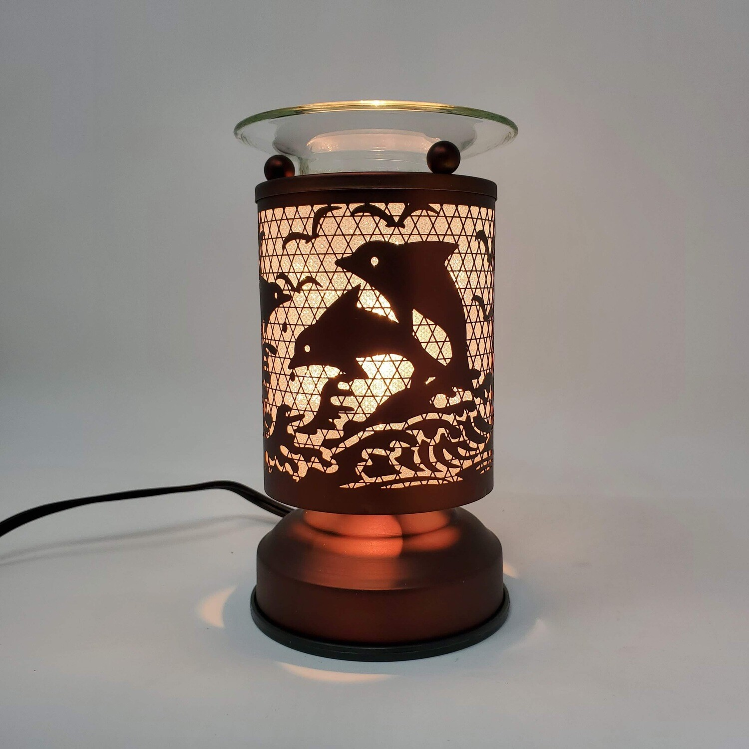 DOLPHINS COPPER TOUCH LAMP