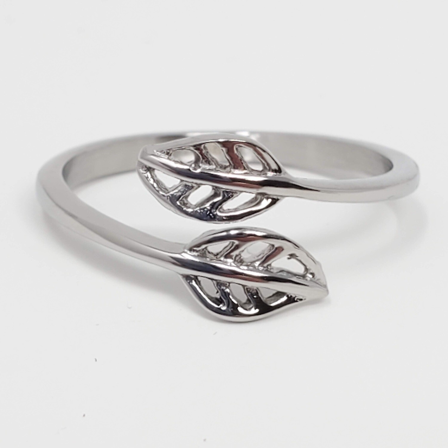 316L TWO LEAVES WRAP RING