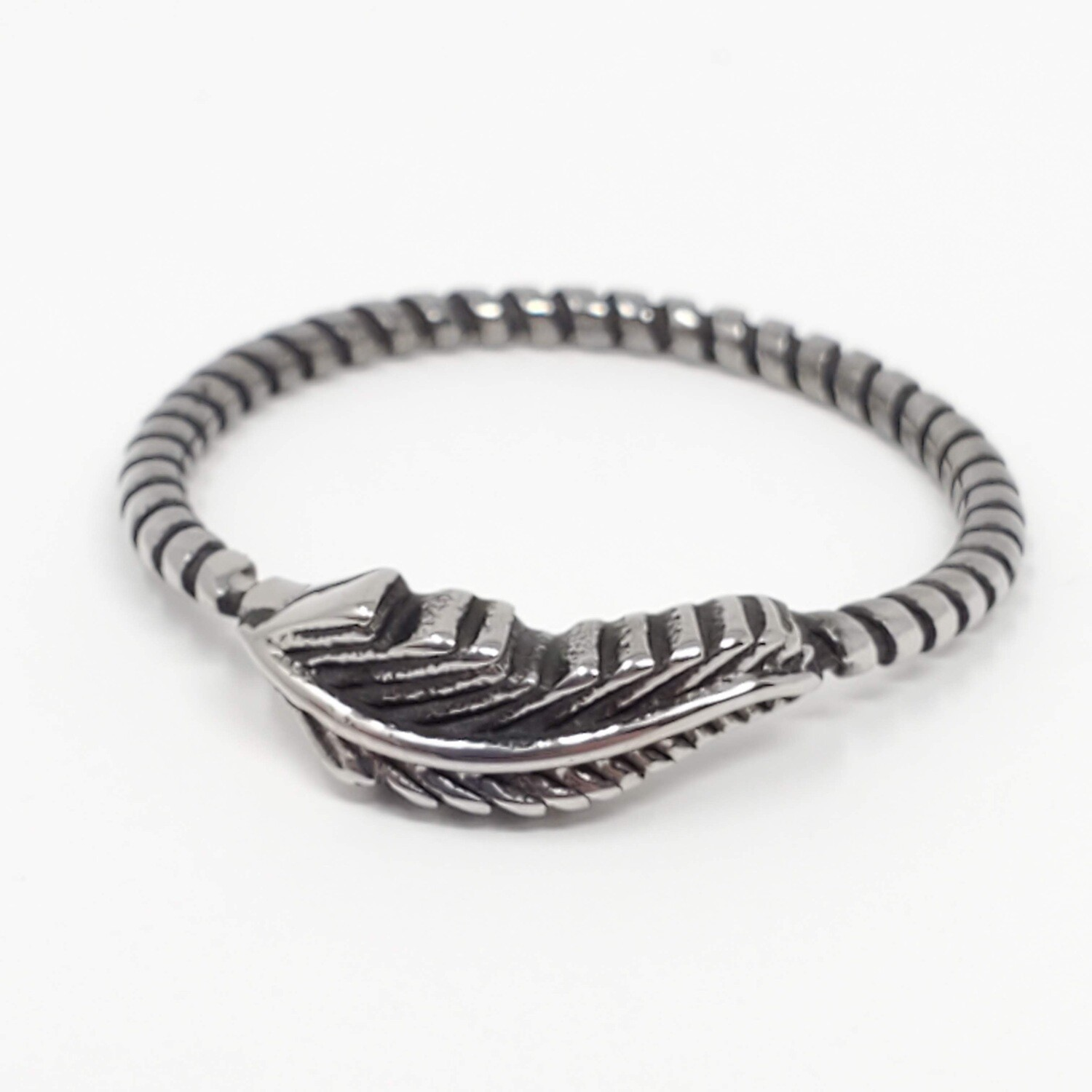 316L FEATHER ROPE RING