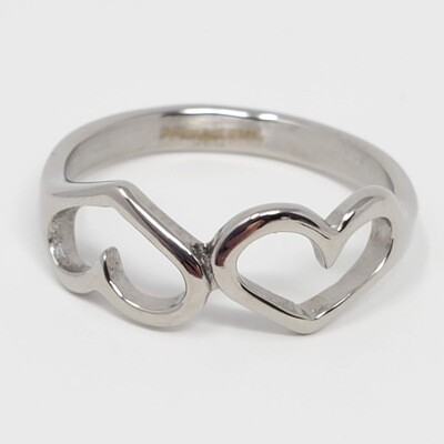 316L TWO HEARTS RING