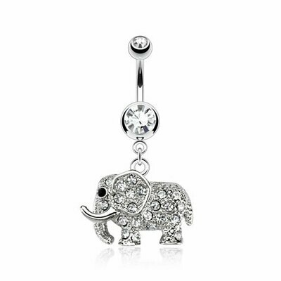 """BLINGY ELEPHANT DANGLE NAVEL 14G 3/8"""""""