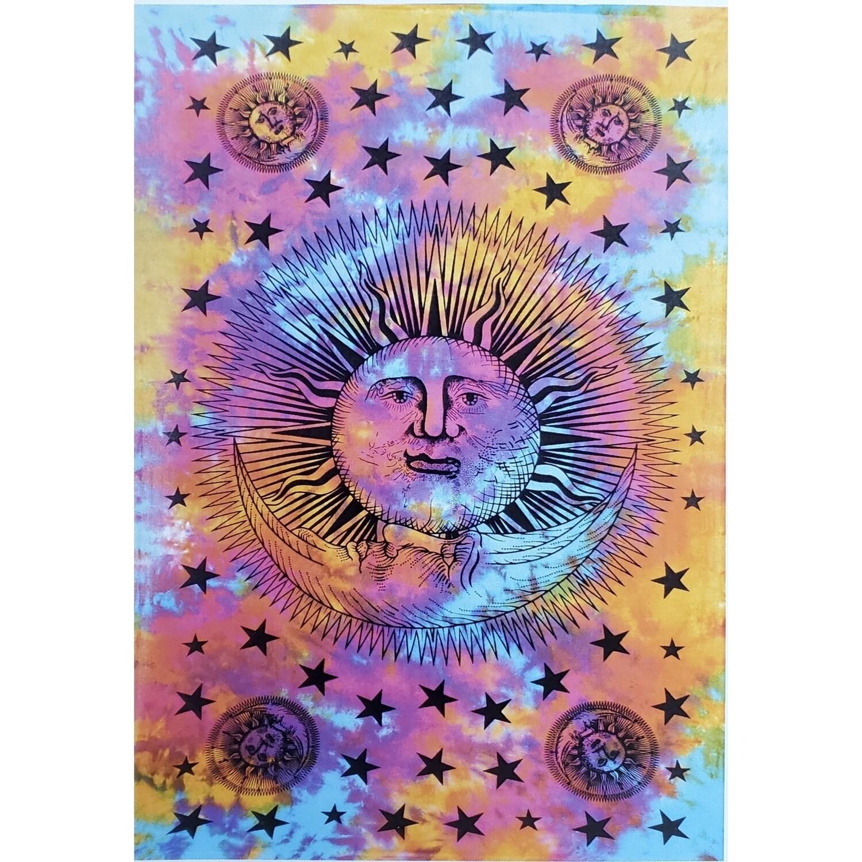 TIE DYE SUN MOON STARS TAPESTRY