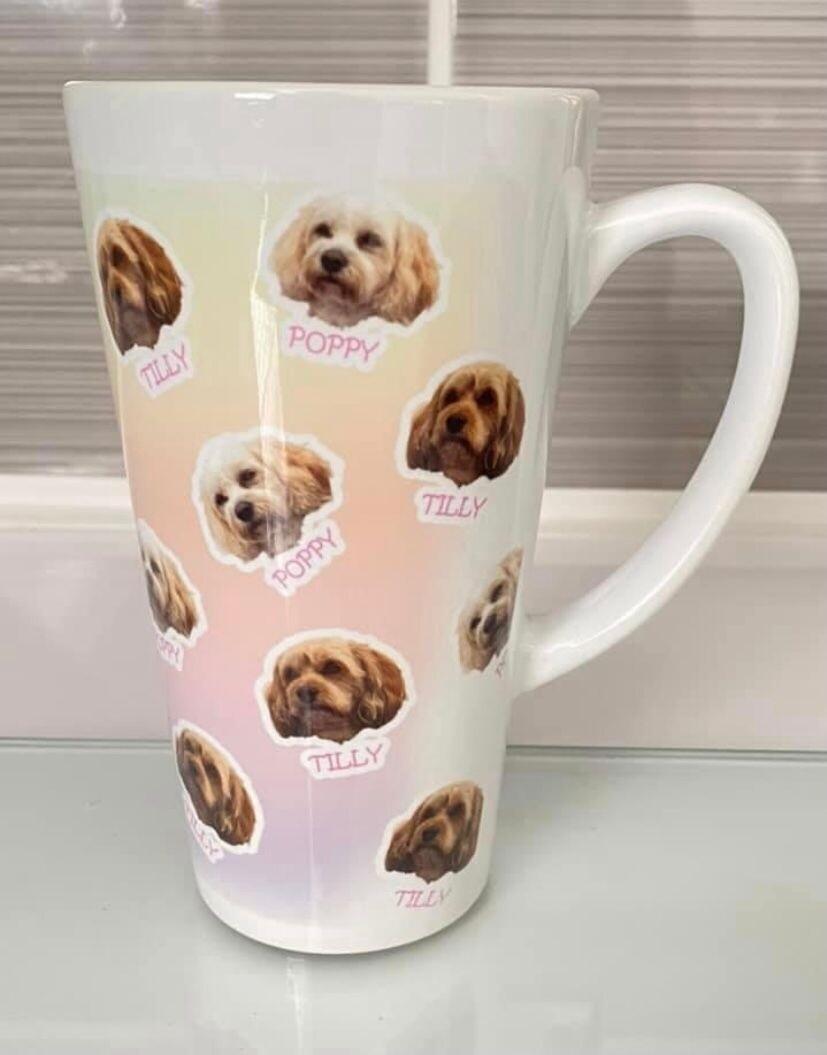 Personalised head latte mug