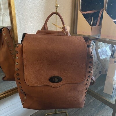 Rustic Backpack Brown Studded