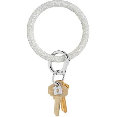 Silver Confetti Silicone Big O Key Ring