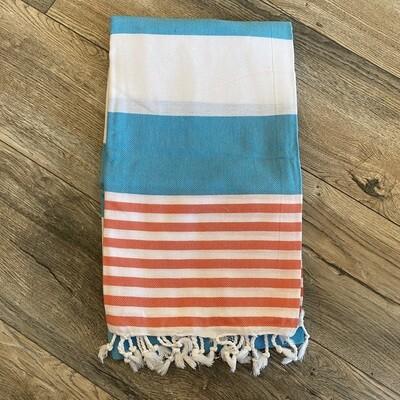 Boreas Turkish Towel Aqua Coral