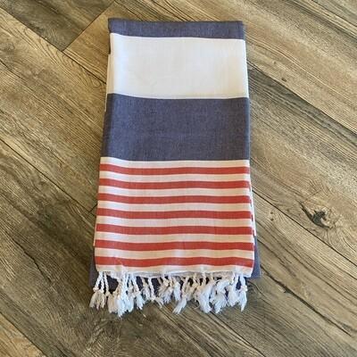 Boreas Turkish Towel Navy Red