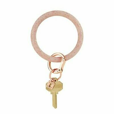 Rose Gold Confetti Silicone Big O Key Ring