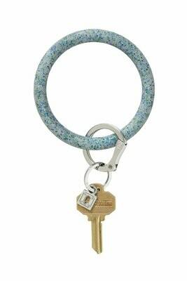 Blue Frost Confetti Big O Key Ring