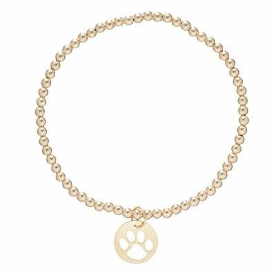 Paw Print 3mm Bead Bracelet Gold