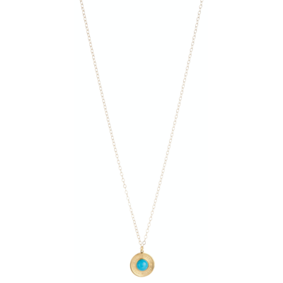 Athena Large Gold Charm -Turquoise