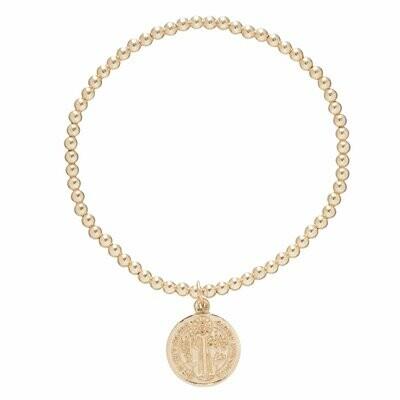 Classic Gold 3mm Bead Bracelet Blessing Lrg Gold Charm