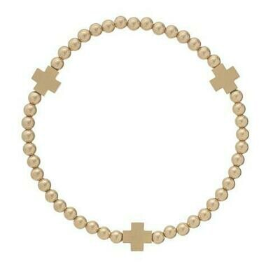 Signature Cross Matte Gold 4mm Bead Bracelet Gold