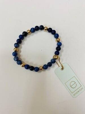 Sodalite Sincerity Pattern 6mm Bead Bracelet Gold
