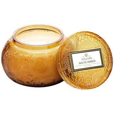 Baltic Amber Glass Chawan Bowl Candle