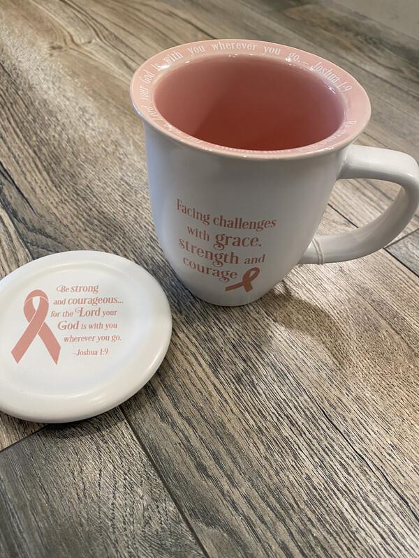 Pink Ribbon Coaster Mug