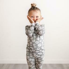 Gray Kisses 2 Piece Pajama