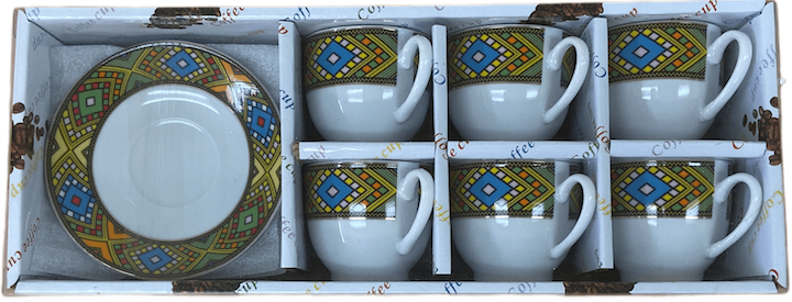 12 pcs Telet Coffee Cups & Saucers w/handle የቡና ሲኒ ከነማስቀመጫው በሰፊ ጥለት ባለእጀታ