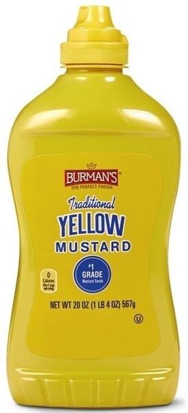 Burman's Traditional Yellow Mustard 20oz