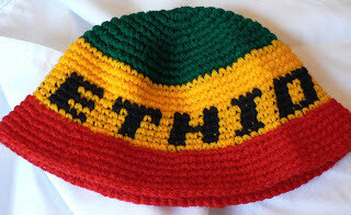 Ethio flag color knit bucket hat