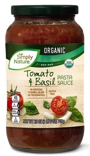 Simply Nature Tomato Basil Pasta Sauce709g