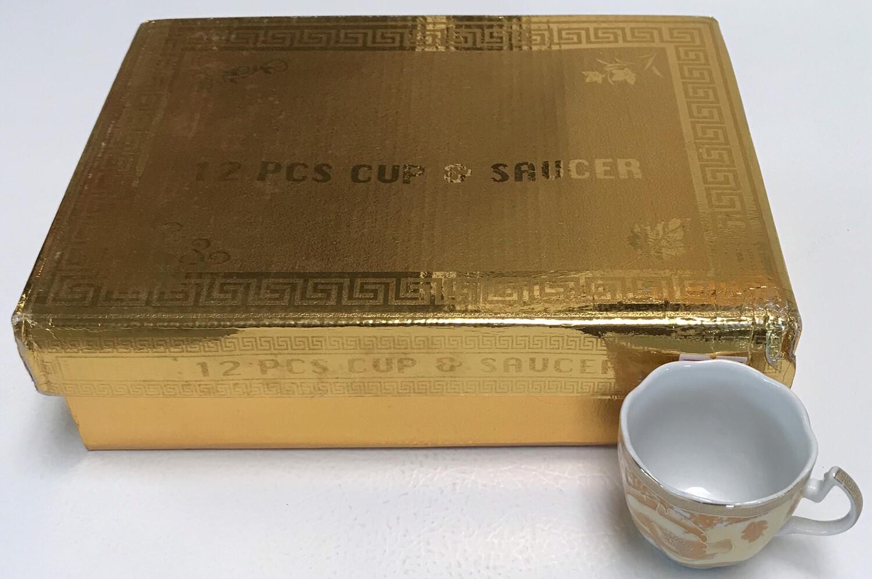 12 pcs cups & saucers gold box