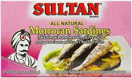 Sultan sardine boneless skinless in olive Oil 4.37oz