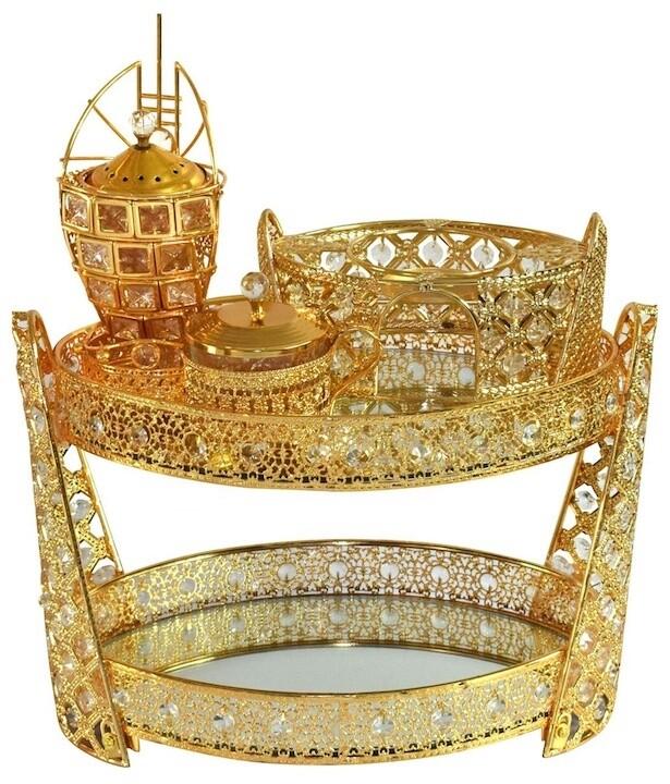 4 pcs set coffee table (goldish oval rekebot)