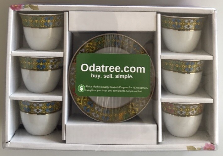 ሰፊ ጥለት የቡና ሲኒ ከነማስቀመጫው 12 pcs wide Telet coffee cup & saucer