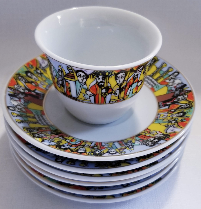 12 pcs queen saba coffee cups & saucers ንግስተ ሳባ