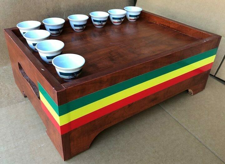 ባለ ባንዲራ ቡናማ የእንጨት ረከቦት Ethio flag brown wood rekebot