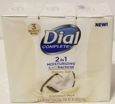 Dial Complete 2in1 Moisturizing & Antibacterial 3 beauty bar coconut milk soap