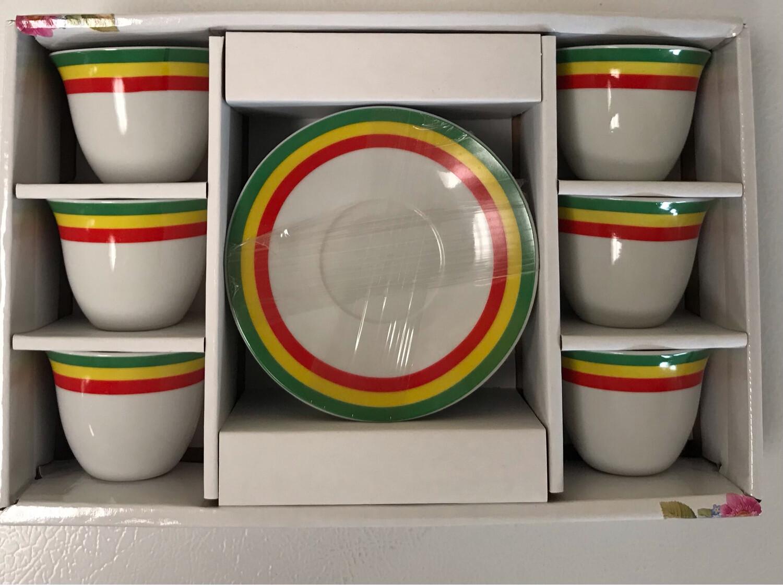 12 pcs Ethiopia flag color coffee cups & saucers