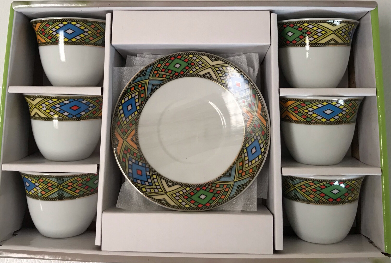 12 pcs coffee cups & saucers (Medium Diamond Tlet)