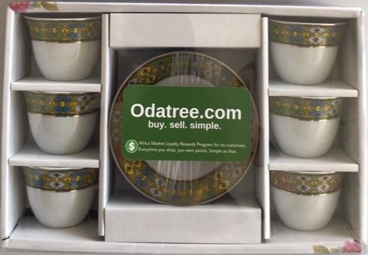 12 pcs Narrow Diamonds Tlet Coffee Cups &  saucers
