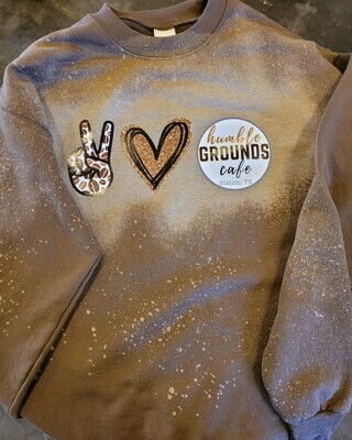 humble GROUNDS Peace Love Coffee Sweatshirt