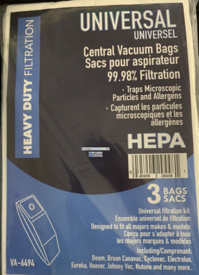 Universal Central Vacuum Bags - 3 Per Package