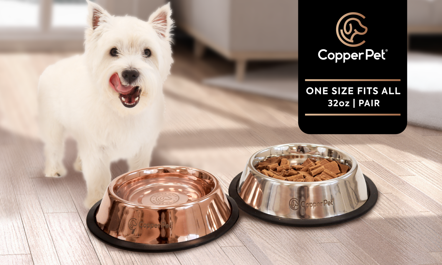 Copper Water Bowl and Stainless Steel Food Bowl Pair