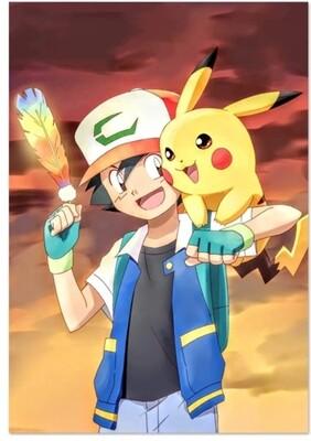 Pikachu and ash diamond painting