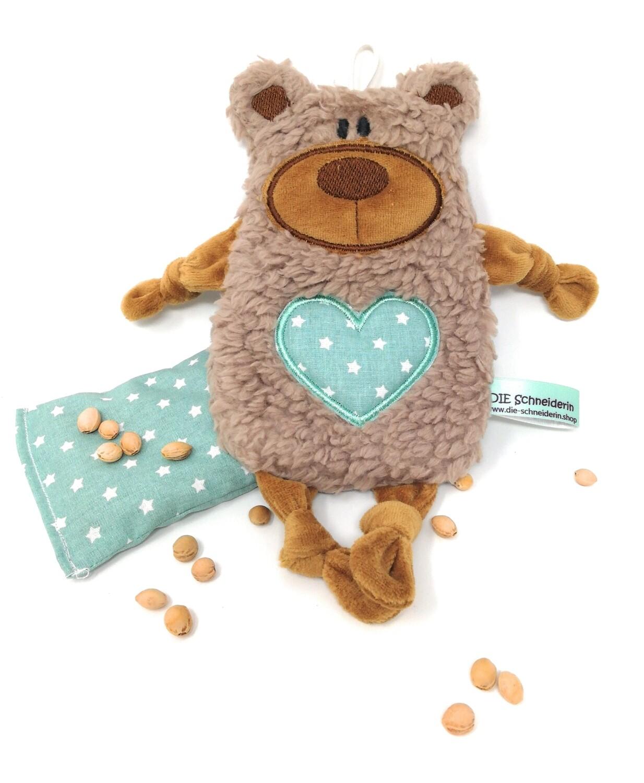Personalisiertes Plüschtier Baby Bär hellbraun mit Namen als Wärmekissen oder Knister-Tuch und Schnullertasche. Ein süßes Baby Geschenk