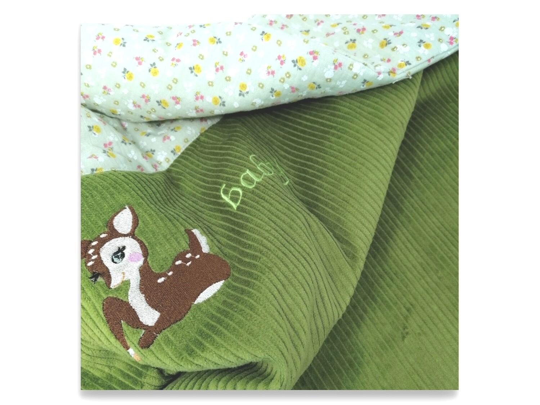 Babydecke Reh 70/70 cm grün Kuscheldecke, Spieldecke, Kinderwagendecke grün Baumwolle. Sofort lieferbar