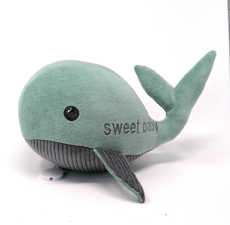 Kuscheltier Wal für Spieluhr helles petrol- grau: mit Namen und Wunschmelodie, aus ökologischen Baumwolle Stoffen, mit austauschbarer Spieluhr. Optional mit Geheimtasche/Reißverschluss