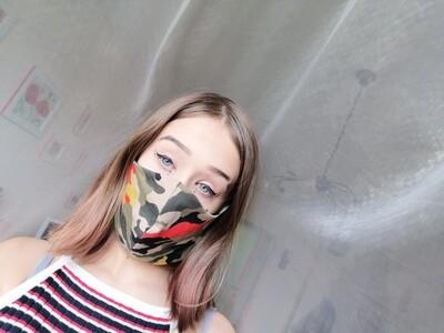 Behelfs Mundschutz Masken  camouflage fuer Kinder und Erwachsene grün schwarz