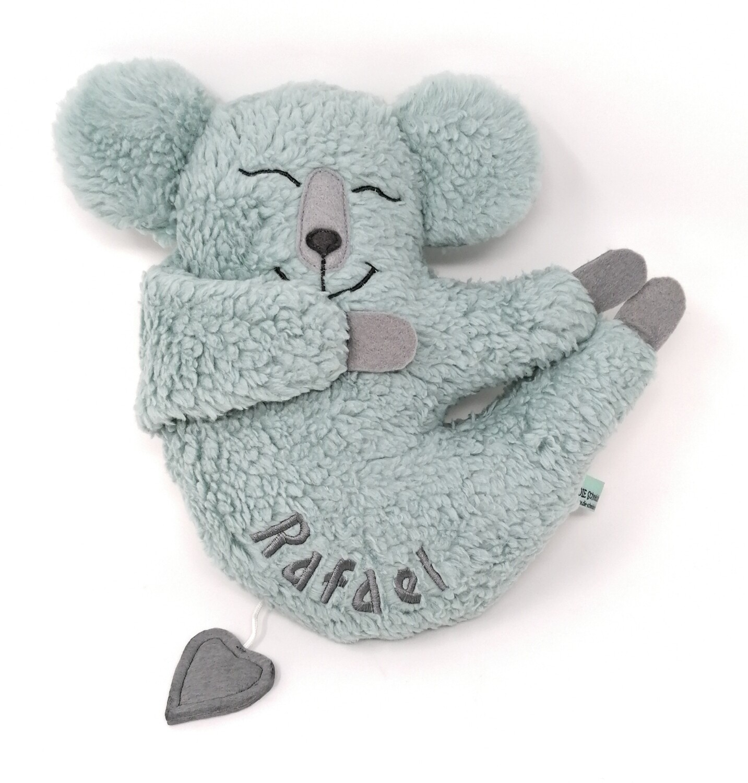 Personalisierte Baby Spieluhr zum Aufhängen Koala mint mit Namen und Wunschmelodie, aus Öko Teddy Plüsch, mit austauschbarer Spieluhr. Taufgeschenk