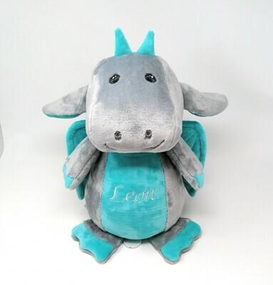 Personalisierte Spieluhr Drache in grau-türkis Gr. 30 cm, Kuscheltier Drache mit Namen und Wunschmelodie, süßes Geschenk für Geburt, Taufe, Geburtstag